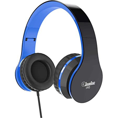Elecder i40 Headphones with Microphone Foldable Lightweight Adjustable Wired On Ear Headsets with 3.5mm Jack for Cellphones Laptop Computer Smartphones MP3/4 Kindle School (Black/Blue)