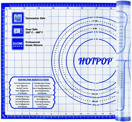 HOTPOP 26 x 16 Inches Extra Thick Nonstick Silicone Pastry Mat for Baking and Rolling with Measurements for Rolling Kneading and Baking Dough Pastry Pie Crust Bun and Bread Making Mat