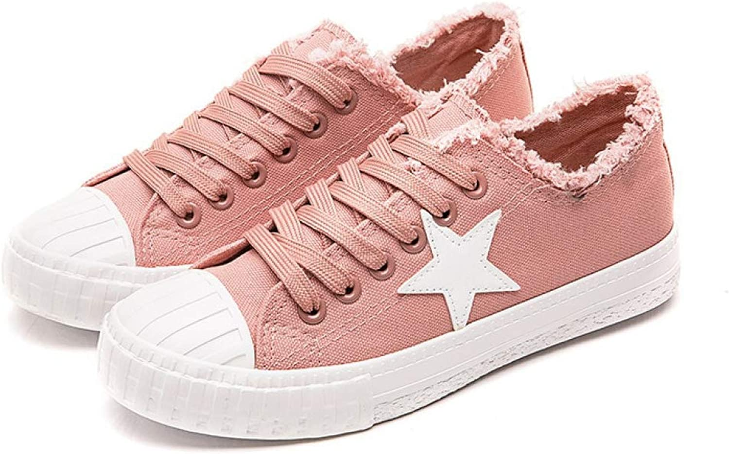 XDH-RTS Spring Summer Womens Sneakers Star Ladies Flat Casual shoes Canvas shoes Lace-Up Espadrilles Trendy Plimsolls