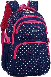 Mochila Escolar para Niños - Correa de Hombro Gruesa Mochilas Dot Book Bag para Niñas (Azul Oscuro)