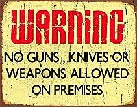 警告敷地内に銃はありませんティンサイン装飾ヴィンテージウォールメタルプラークレトロ鉄絵画カフェバー映画ギフト結婚式誕生日警告