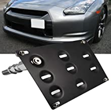 SIZZLEAUTO JDM Style Front Bumper Tow Hook License Plate Mounting Bracket Holder Relocator for Nissan 370Z Z34 GTR R35 Sentra Juke/Infiniti G37 2dr Coupe / Q60 / Q50 (fit Without Front Parking Sensor)
