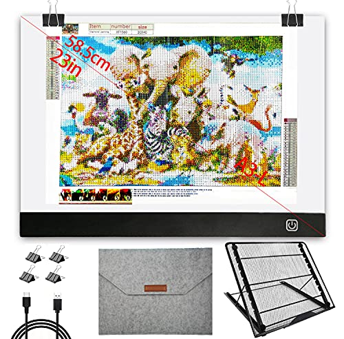 Diamond Painting Light Pad A3, with Protective Storage Bag and Large Metal Stand, A3L Large Size L:18.5 × W:13.5inch LED Light Pad for Diamond Painting, Dimmable Diamond Painting Light Board.