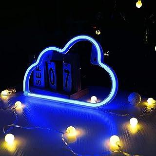 Danolt Cartel de luz de neón LED, diseño de nube, luz neón, lámpara de pared, funciona con pilas o USB, para casa, habitación de los niños, bar, fiesta