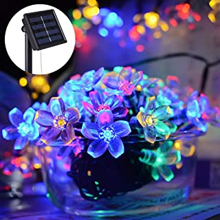 Colorful Solar String Lights 50 LED Peach Blossom Flower Christmas Lights Waterproof 23FT Twinkle Fairy Lights Solar Powered Garden Decor String Lights for Patio Lawn Yard Landscape Christmas Tree