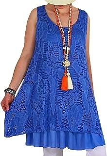 FSSE Womens Lace Sundress Double-Deck Sleeveless Summer T-Shirt Dress