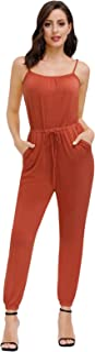 Zexxxy Women Casual Sleeveless Jumpsuit Drawstring Waist Rompers with Pockets