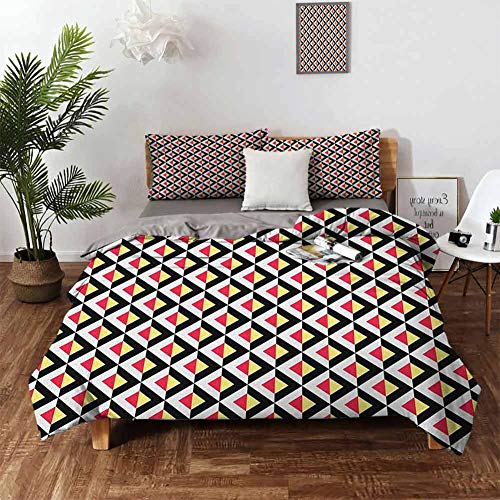 Lowest Prices! Yellow and White Sheet Set-3 Piece Set,Bedding Set Queen Rhombus Design with Chevron ...