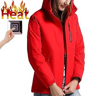 Womens Winter Heated Jacket Windproof Waterproof Hoodie Jacket for Fishing Skiing Golf Winter Sports(Battery NOT Included)