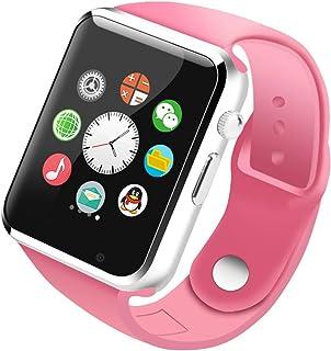reloj inteligente adulto SIM Llamada de teléfono celular Bluetooth Podómetro cumpleaños presente Supervisión del sueño A1 (negro, azul, blanco, rosa) (Color : Pink)