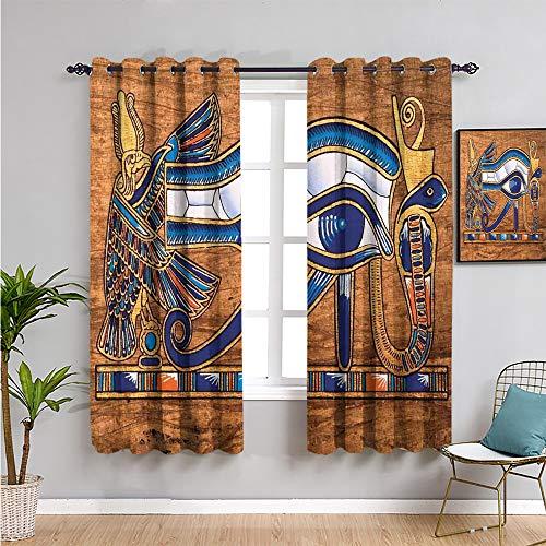 Pcglvie Cortina de aislamiento térmico egipcio, cortinas de 183 cm de largo, diseño de papiro antiguo que representa ojo de mosaico, uso diario, azul marino, naranja y marrón, 163 x 182 cm