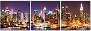 Biuteawal - New York City Canvas Wall Art Manhattan Skyline Panorama at Night Picture Giclee Art Print 3 Piece Cityscape Wall Artwork Modern Home Office Living Room Bedroom Decoration