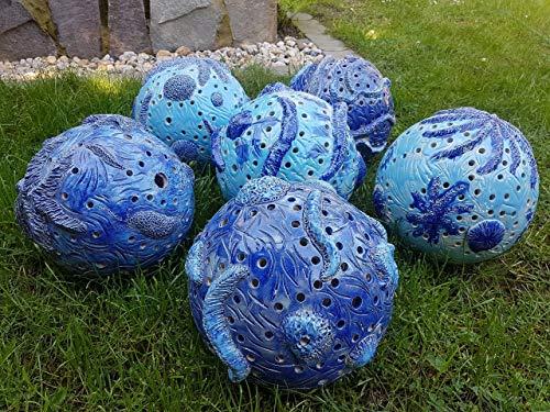 Keramikkugel, Kugelleuchte, Gartenkugel, maritim 25 cm