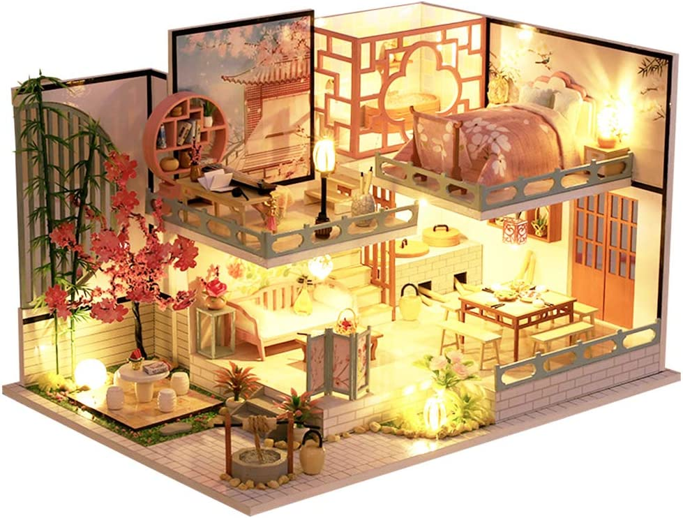CUTEBEE Dollhouse Miniature with Furniture DIY Wooden Dollhouse Kit Plus Dust Proof and Music Movement 1:24 Scale Creative Room Idea Japanese Style Apartment