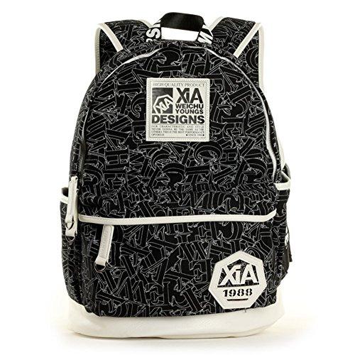 Sincere® Fashion Backpack / Zipper Sacs à dos / rue mode / sac multifonction / Canvas / sac à bandoulière casual / extérieur sac à dos noir