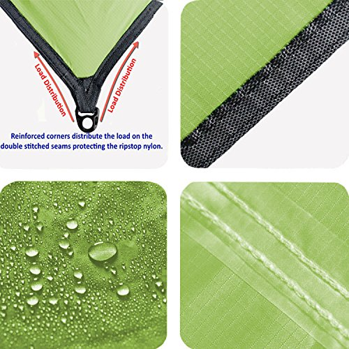 Product Image 1: Chill Gorilla 12×12 Hammock Rain Fly Camping Tarp. Ripstop Nylon. 203″ Centerline. Stakes, Ropes & Tensioners Included. Camping Gear & Accessories. Perfect Hammock Tent. Green