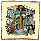 Washington DC - Lap Square Cotton Woven Blanket Throw - Made in The USA (54x54)
