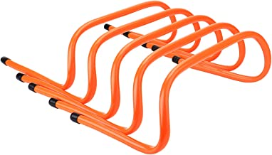 REEHUT Set of 5 Speed Hurdles - Agility, Plyometric and All Purpose Speed Training Hurdle with Carry Handles (Orange)
