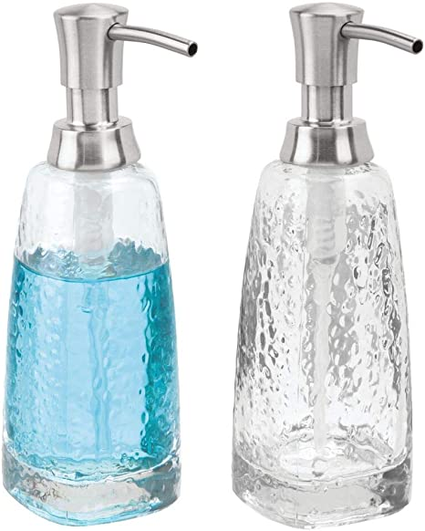Amazon Com Mdesign Modern Glass Refillable Liquid Soap Dispenser Pump Bottle For Bathroom Vanity Countertop Kitchen Sink Holds Hand Soap Dish Soap Hand Sanitizer Essential Oils 2 Pack Clear Brushed