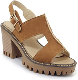 BalaMasa Womens ASL06092 Pu Platform Heels