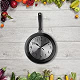 Wall Clock, 10 inch Metal Frying Pan Kitchen Wall Clock Home Decor - Kitchen Themed Unique Wall Clock with a Screwdriver (Black)