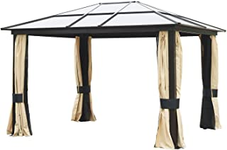 Outsunny 12' x 10' Aluminum Frame Patio Gazebo Canopy with Polycarbonate Hardtop Roof, Mesh Net Curtains, & Durability
