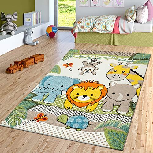 TT Home Alfombra Habitación Infantil Multicolor Verde Animales Alegres Zoo Jungla 3D, Größe:140x200 cm