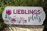 G.Handwerk Metall Schild 35x15cm - Lieblingsplatz - Pink/Creme Wandschmuck Nostalgie Tafel
