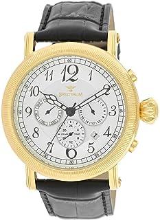 Spectrum Men's Gold Case White Dial Muli Function Dress Watch