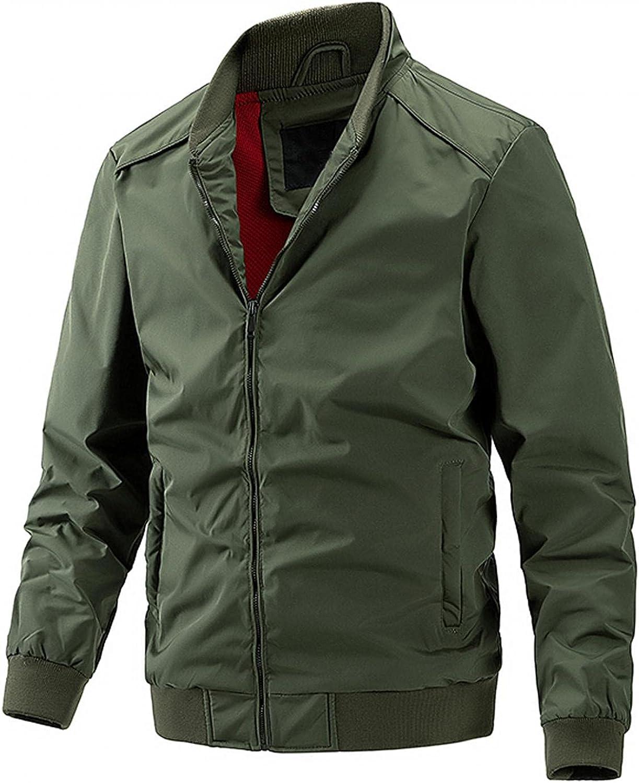 WoCoo Men's Jackets Long Sleeve Stand Collar Zipper Windbreaker Outwear Lightweight Thin Bomber Varsity Coat Tops