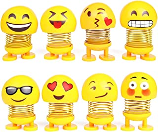 PROLOSO Spring Emoji Shaking Head Dolls Dancing Noddig Toys Theme Party Favors Car Dashboard Table Decoration Pack of 8