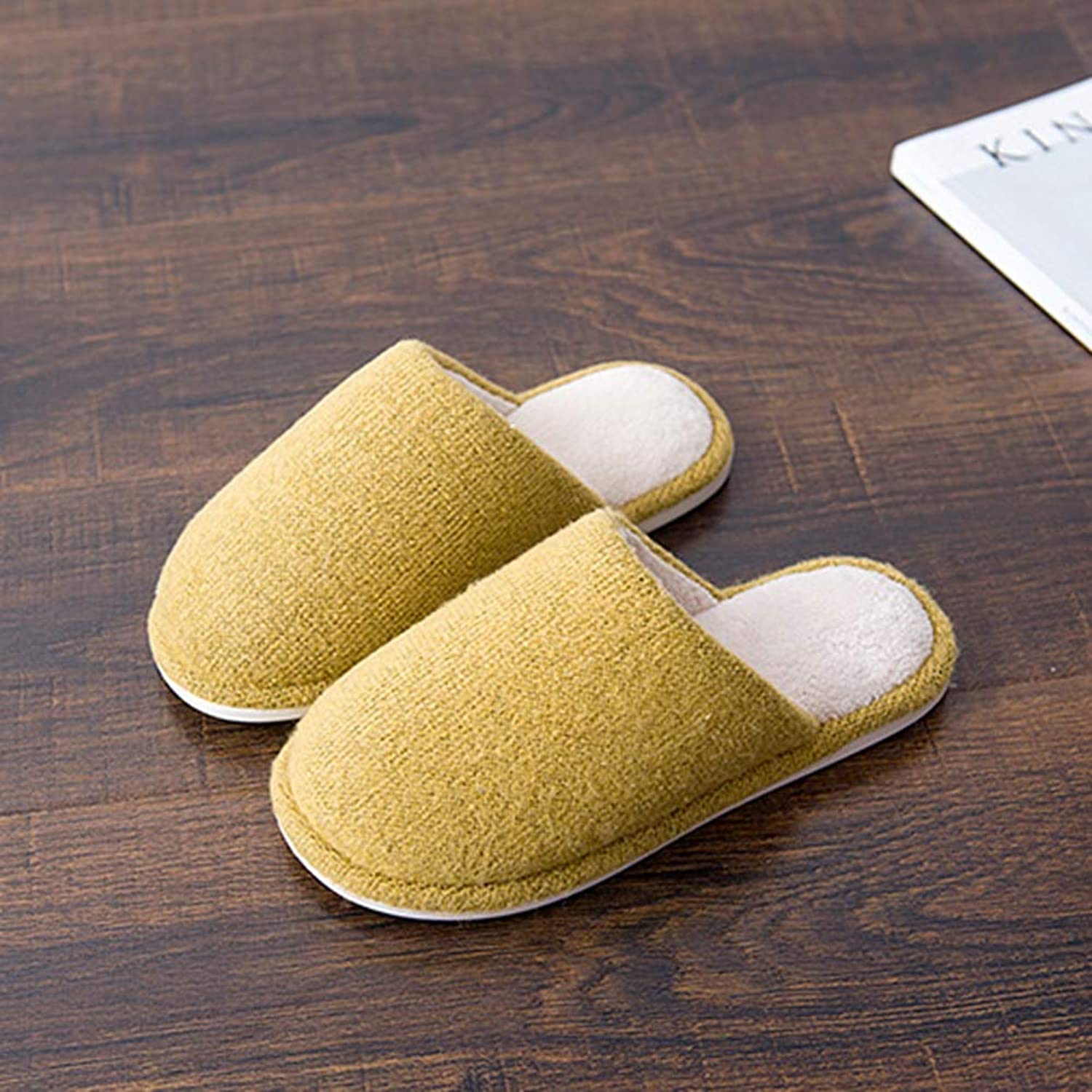 Flip Flop Autumn and Winter Simple Knitting Wool Home Comfortable Non-Slip Cotton Slippers Wear Resistant (color   Yellow, Size   38-39yards)
