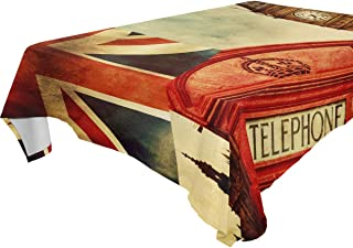 REFFW for Parties Weddings Kitchen Table Cloth Rectangular London Big Ben England UK Tablecloth Table Cover Happy Dining 60x108 Inches