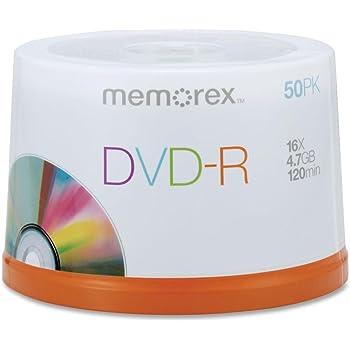Memorex DVD-R Discs, 4.7GB, 16x, Spindle, Silver, 50/Pack
