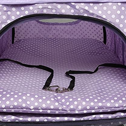 Flexzion Pet Stroller Dog Cat Small Animals Carrier Cage 4 Wheels Folding Flexible Easy Walk For Jogger Jogging Travel Up To 30 Pounds With Rain Cover Cup Holder And Mesh Window 1 Dot Purple 4