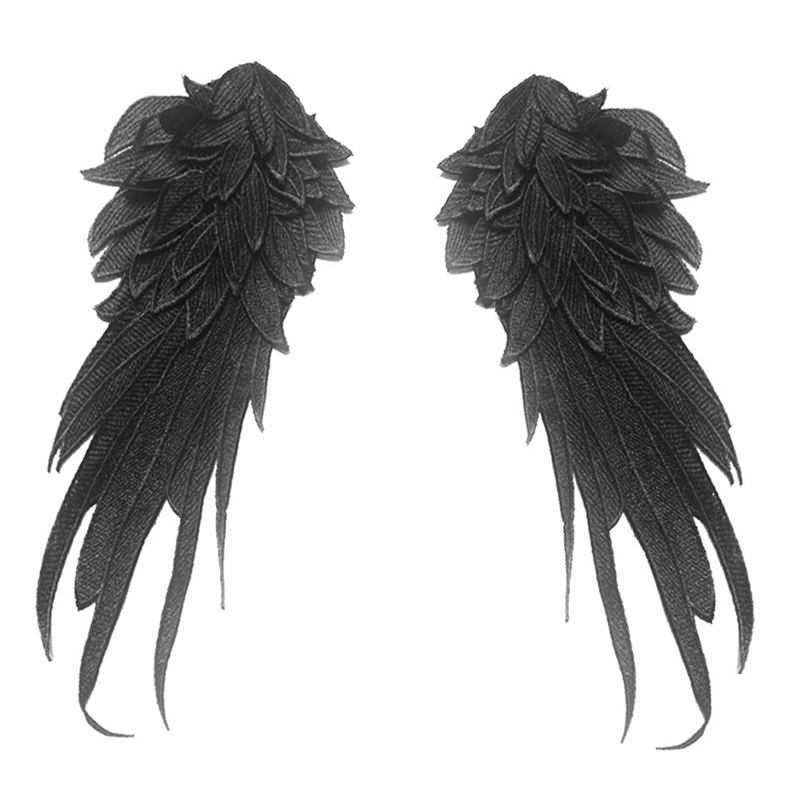 1Pair Black Embroidered Angel Wings 15.8x6.2 inch (Black-Large)
