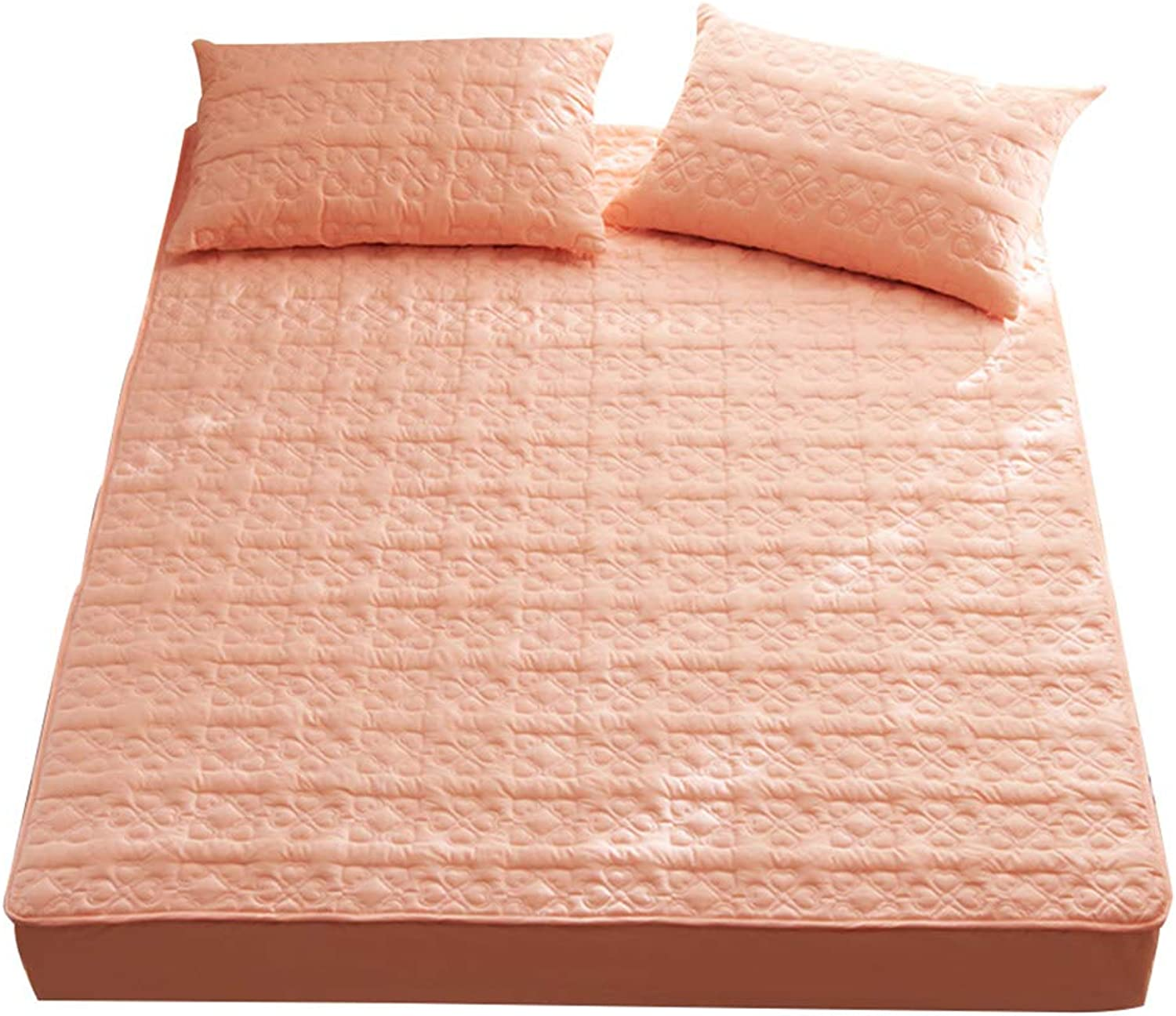 ZHAOHUI Mattress Predector Cotton Breathable Anti-mite Keep Warm Quilted Soft and Comfortable, 2 Packages are Available, 6 colors, 3 Sizes (color   orange-1ps, Size   150X200cm)