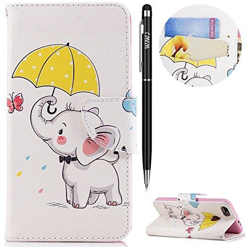 WIWJ Huawei P9 Lite Mini Handyhülle,Huawei P9 Lite Mini Hülle, PU Cover Case Leder[Messer Schnalle Gemalt Stand Handy Case] Hülle für Huawei P9 Lite Mini-Regenschirm-Symbol