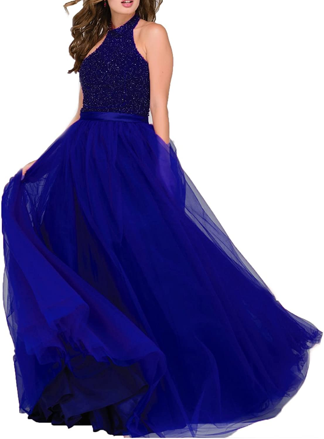 Beauty Bridal Women's Halter Embellished Full Length Long Prom Dress Tulle Evening Gown L055