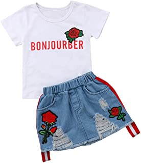 c42308848f2f8 Kids Girls Letter Print White T-Shirt Top Embroidery Ripped Denim Skirt  Outfit Sets