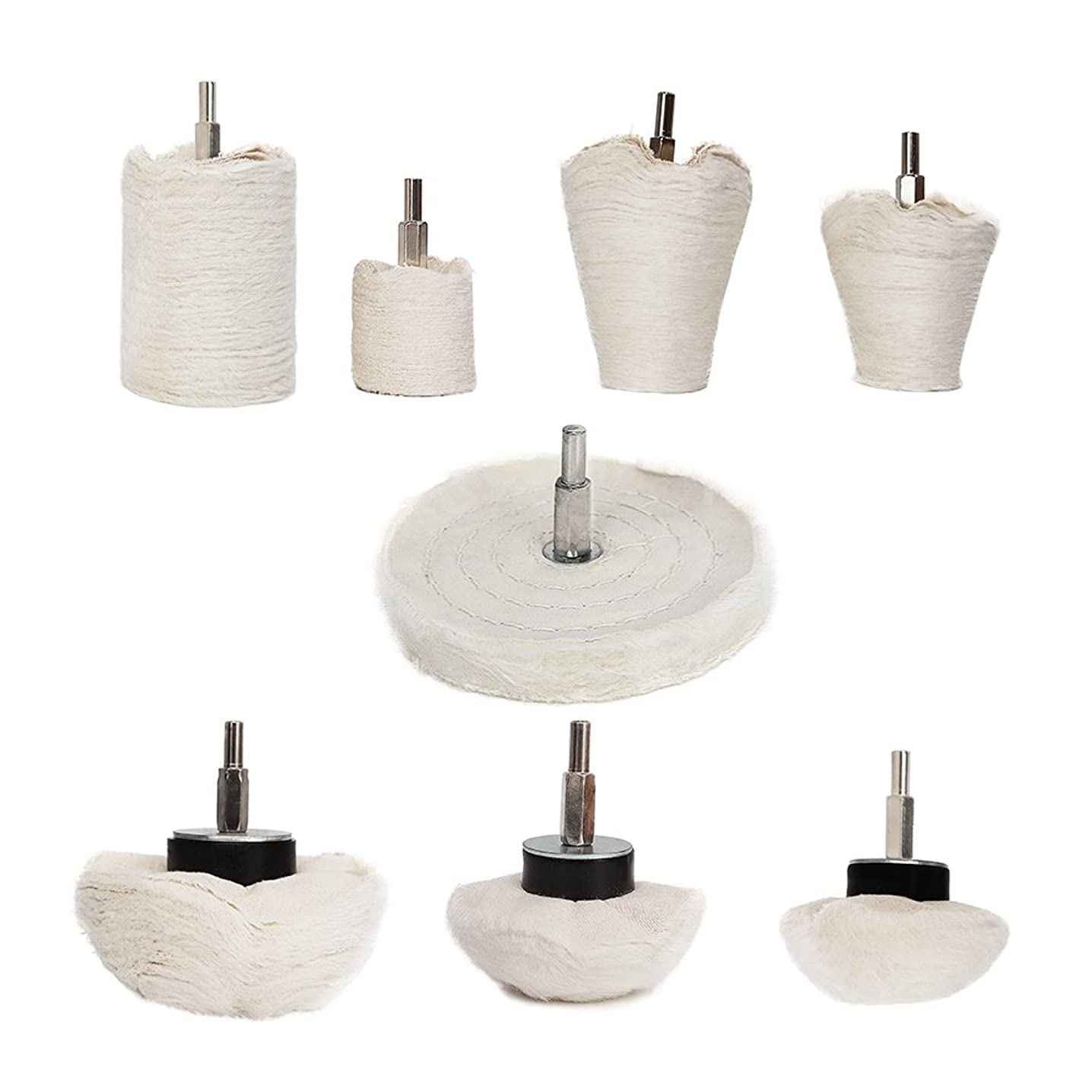 Buffing Polishing Wheel For Drill - 8Pcs White Flannelette Polishing Mop Wheel Cone/Column/Mushroom/T-shaped Wheel Grinding Head With 1/4 Handle For Manifold / aluminum / stainless steel / chrome etc.