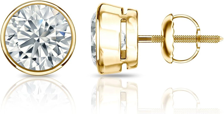 1/6 to 2 Carat Round Diamond Stud Earrings in 14k Yellow Gold Bezel-set (cttw, Good, I1-I2) Screw Back by Diamond Wish