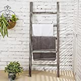 MyGift 4-Foot Decorative Rustic Barnwood 5-Rung Blanket Ladder Organizer, Hanging Bar Rack