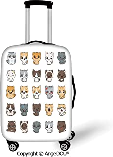 AngelDOU Printed Thicker Travel Suitcase Protective Cover Emoji Cute Cartoon Cats and Dogs with Various Facial Expressions Angry Happy Sad Smiling Decorative Multicolor Luggage Case Travel Accessories