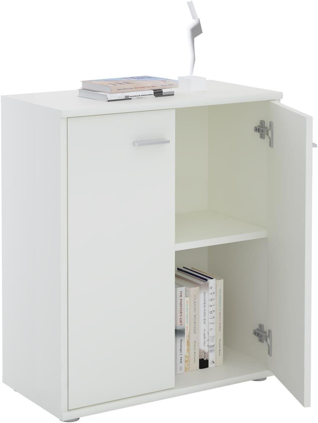 CARO-M/öbel Kommode Sideboard Schrank Tommy in wei/ß Anrichte mit 2 T/üren inklusive Einlegeboden