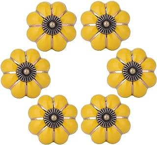WOLFTEETH Yellow Pumpkin Knobs Vintage Ceramic Pulls Kitchen Cabinet Dressing Table Dresser Handle 6pcs