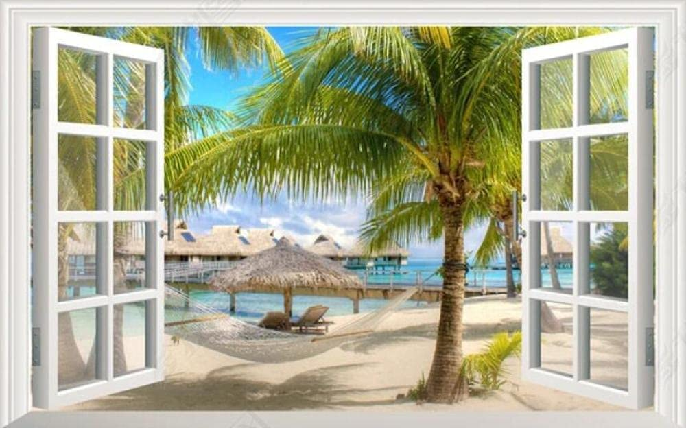 Wall Mural 3D New arrival Wallpaper Thatched Outs Cottage Beach Super special price Scenery with
