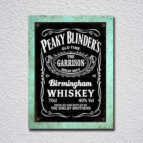 RABEAN Peaky Blinder's Birmingham Whiskey - Placa de Metal para decoración de Bar, cafetería, Hotel, Oficina, Dormitorio, jardín