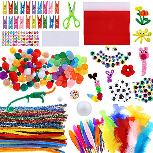 Caydo Art and Craft Kit Supplies Include Pipe Cleaners, Pom Poms, Feather and Felt, Foam Balls for Kids and Toddlers Age 4 5 6 7 8 9