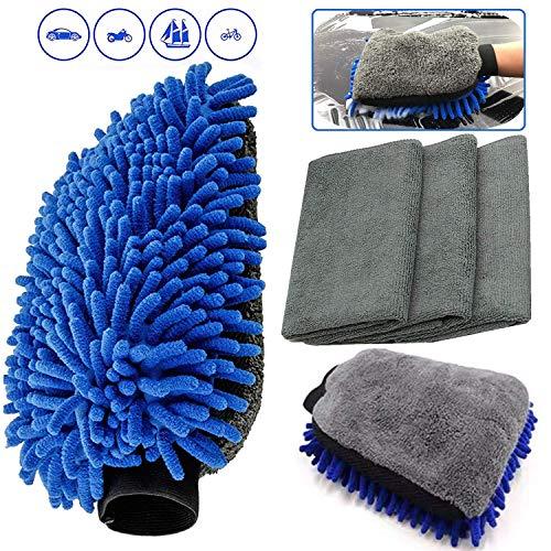 Auto Autopflege Reinigung Set, 2 Stücke Mikrofaser Autowaschhandschuh + 3 Stück Microfasertuch, Weicher Korallen Auto Chenille Waschhandschuh Handschuh mit Reinigungstuch Trokentuch für Autowäsche